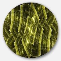 Designart 'Golden Psychedelic Fractal Metal Grid Art' Abstract Round Metal Wall Art
