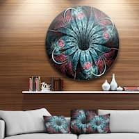 Designart 'Glittering Dark Fractal Flower Digital Art' Floral Circle Wall Art