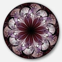 Designart 'Soft Pink Digital Art Fractal Flower' Floral Disc Metal Artwork