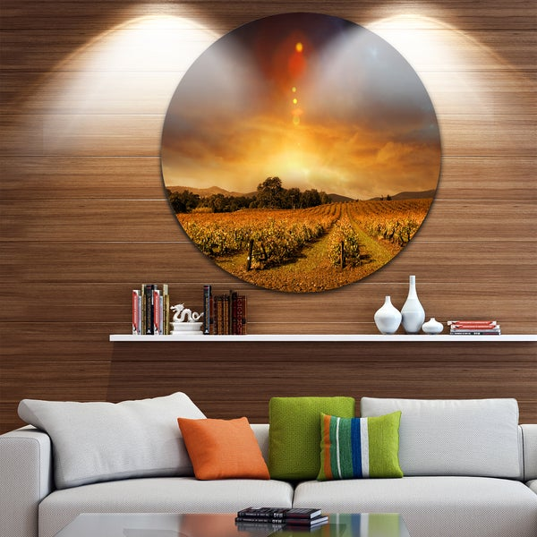 Designart 'Yellow Autumn Vineyard Sunset' Landscape Disc Metal Artwork