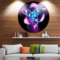 Designart 'Blue Purple Fractal Flower Design' Abstract Circle Wall Art