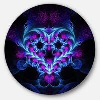 Designart 'Bright Blue Fractal Flower Design' Abstract Round Metal Wall Art
