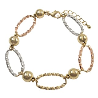 Luxiro Tri-color Gold Finish Oval and Ball Link Bracelet