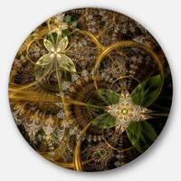 Designart 'Green Gold Digital Art Fractal Flower' Floral Round Metal Wall Art