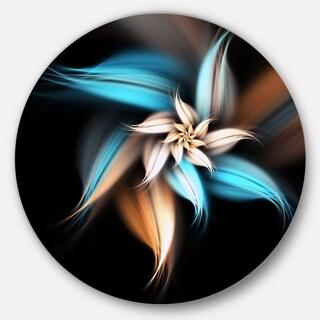 Designart 'Blue Brown Digital Art Fractal Flower' Floral Large Circle Metal Wall art