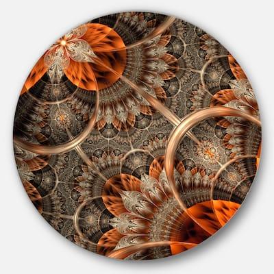 Designart 'Orange Brown Digital Art Fractal Flower' Floral Large Disc Metal Wall art