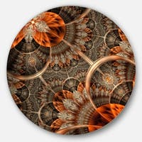 Designart 'Orange Brown Digital Art Fractal Flower' Floral Large Disc Metal Wall art