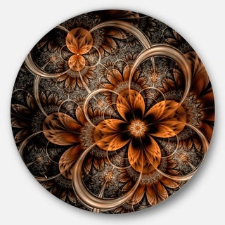 Designart 'Dark Orange Digital Art Fractal Flower' Floral Round Wall Art