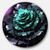 Designart 'Purple Blue Digital Art Fractal Flower' Floral Disc Metal Wall Art