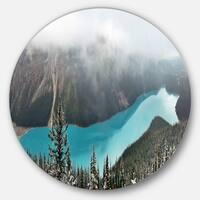 Designart 'Beautiful Petyo Lake Panorama' Landscape Round Wall Art