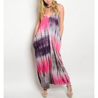 JED Women's Spaghetti Strap Flowy Tie Dye Maxi Dress with Pockets