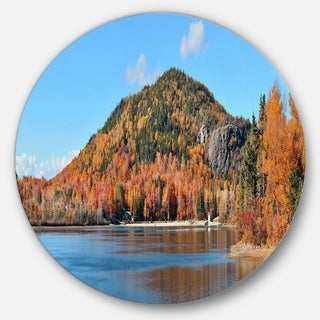 Link to Designart 'Lake and Beautiful Autumn Foliage' Landscape Disc Metal Wall Art Similar Items in Metal Art