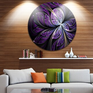 Designart 'Glittering Purple Fractal Flower' Floral Circle Metal Wall Art