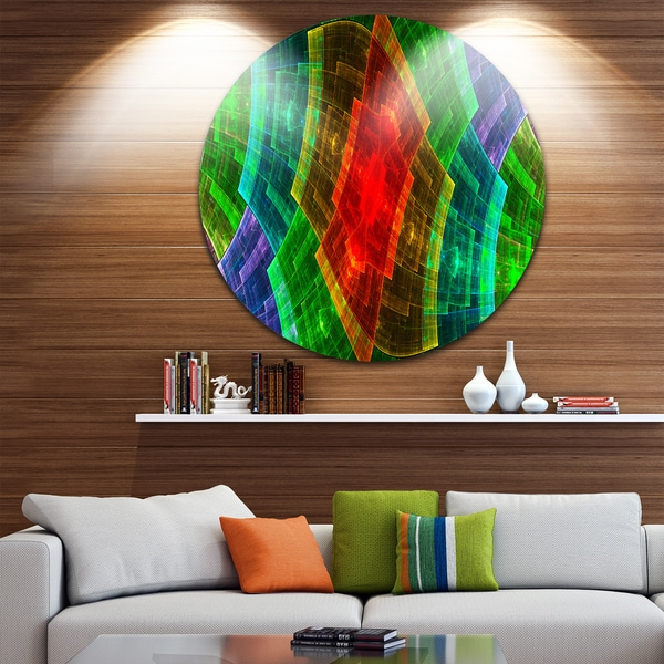 Designart 'Colorful Psychedelic Fractal Metal Grid' Abstract Round Metal Wall Art