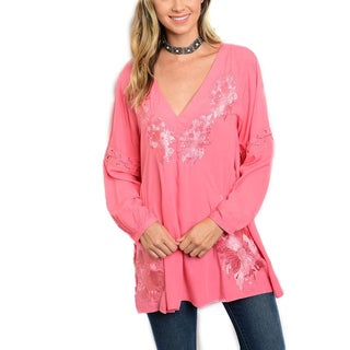 JED Women's Rayon Relaxed Fit Floral Embroidered Tunic Blouse