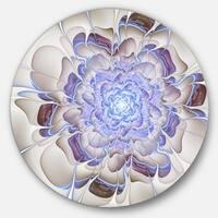 Designart 'Fractal Flower in Light Blue Digital Art' Floral Circle Wall Art