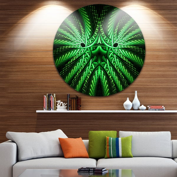 Designart 'Glowing Green Fractal Flower in Black' Abstract Round Metal Wall Art
