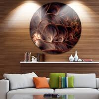 Designart 'Glittering Brown Fractal Flower on Black' Floral Round Wall Art