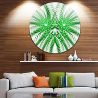Designart 'Glowing Green Fractal Flower in White' Abstract Large Disc Metal Wall art