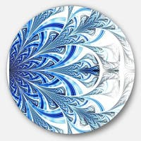 Designart 'Fractal Flower in Soft Blue Digital Art' Floral Disc Metal Wall Art