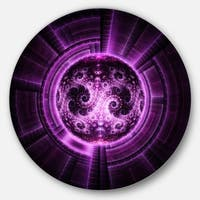 Designart 'Rounded Purple Glowing Fractal Flower' Abstract Round Metal Wall Art