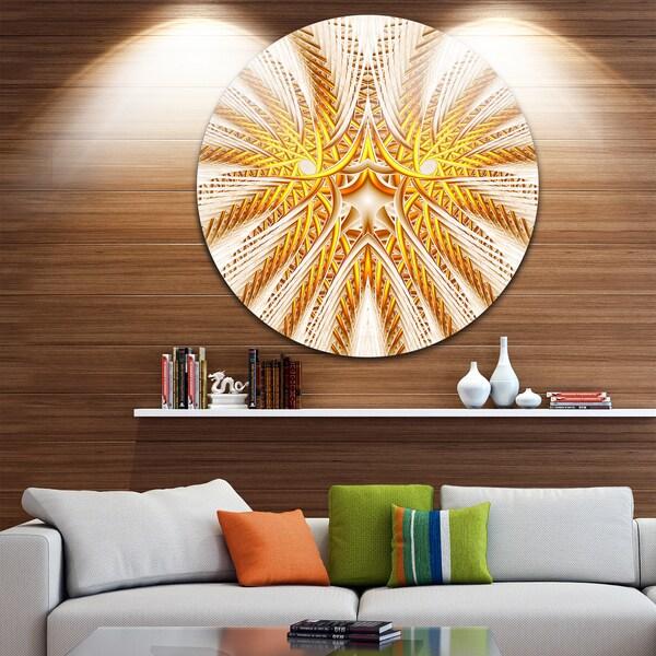 Designart 'Yellow Fractal Flower Symmetrical Design' Abstract Round Wall Art