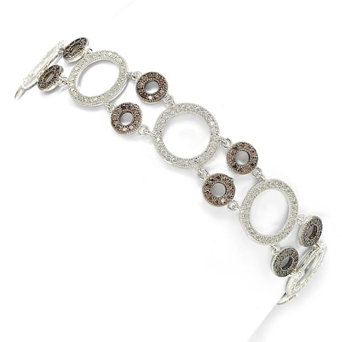 Suzy Levian Sterling Silver Brown and White Cubic-Zirconia Circles Tennis Bracelet