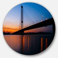 Designart 'Southern Bridge Panorama in Kiev' Cityscape Disc Metal Wall Art