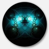Designart 'Bright Blue in Black Fractal Flower' Abstract Round Wall Art