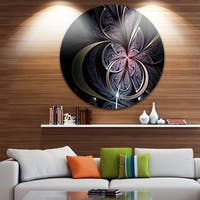 Designart 'Dark Blue Fractal Butterfly Flower' Floral Round Metal Wall Art