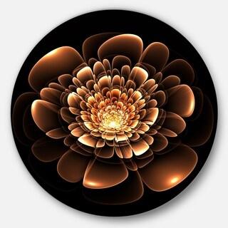 Designart 'Glittering Brown Yellow Fractal Flower' Floral Disc Metal Wall Art