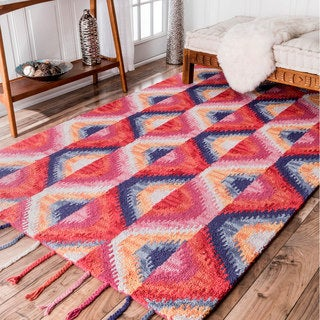 nuLOOM Handmade Abstract Ikat Wool Tassel Rug (5' x 8')