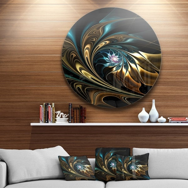 Designart X27 Brown Blue Fractal Flower In Black Abstract Large