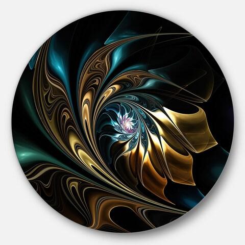 Designart 'Brown Blue Fractal Flower in Black' Abstract Large Disc Metal Wall art