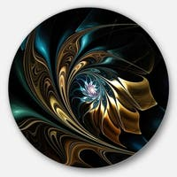 Designart 'Brown Blue Fractal Flower in Black' Abstract Large Disc Metal Wall art