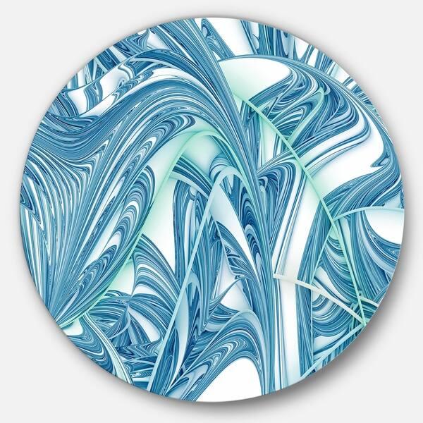 Designart Unique Blue Fractal Design Pattern Abstract Round Wall Art Overstock 14249513