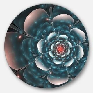 Designart 'Full Bloom Blue Fractal Flower' Floral Circle Wall Art