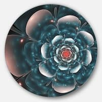 Designart 'Full Bloom Blue Fractal Flower' Floral Circle Wall Art