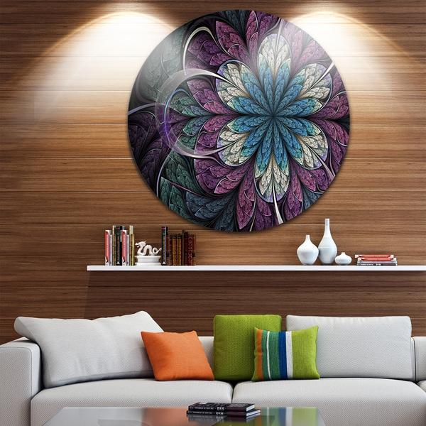 Designart 'Purple Blue Rounded Fractal Flower' Floral Large Disc Metal Wall art