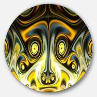 Designart 'Unique Light Yellow Fractal Design Pattern' Abstract Round Metal Wall Art