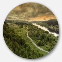 Designart 'Road along the Nemunas in Green' Landscape Circle Wall Art