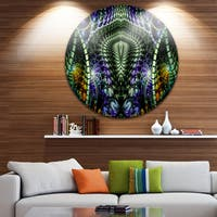 Designart 'Unique Colorful Fractal Design Pattern' Abstract Round Wall Art