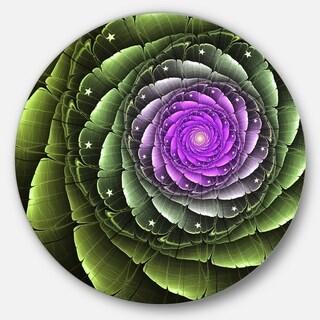 Designart 'Lush Green and Purple Fractal Flower' Floral Round Wall Art