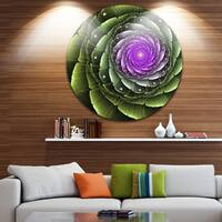 Designart 'Lush Green and Purple Fractal Flower' Floral Round Wall Art
