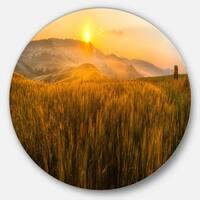 Designart 'Tuscany Wheat Field at Sunrise' Landscape Round Wall Art