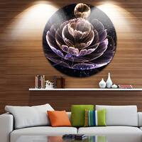 Designart 'Purple Ideal Fractal Flower with Pollen' Floral Round Wall Art