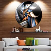 Designart 'Multi Color Fractal Floral Pattern in Black' Floral Disc Metal Wall Art