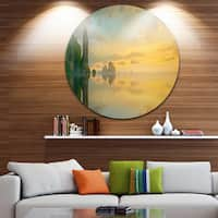 Designart 'Colorful Sky and Board on Beach' Seascape Circle Wall Art
