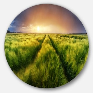 Designart 'Storm and Light on Meadow' Landscape Large Disc Metal Wall art
