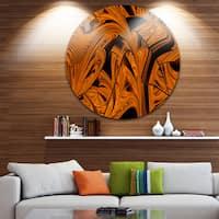 Designart 'Vibrant Brown Fractal Flower Pattern' Abstract Disc Metal Wall Art